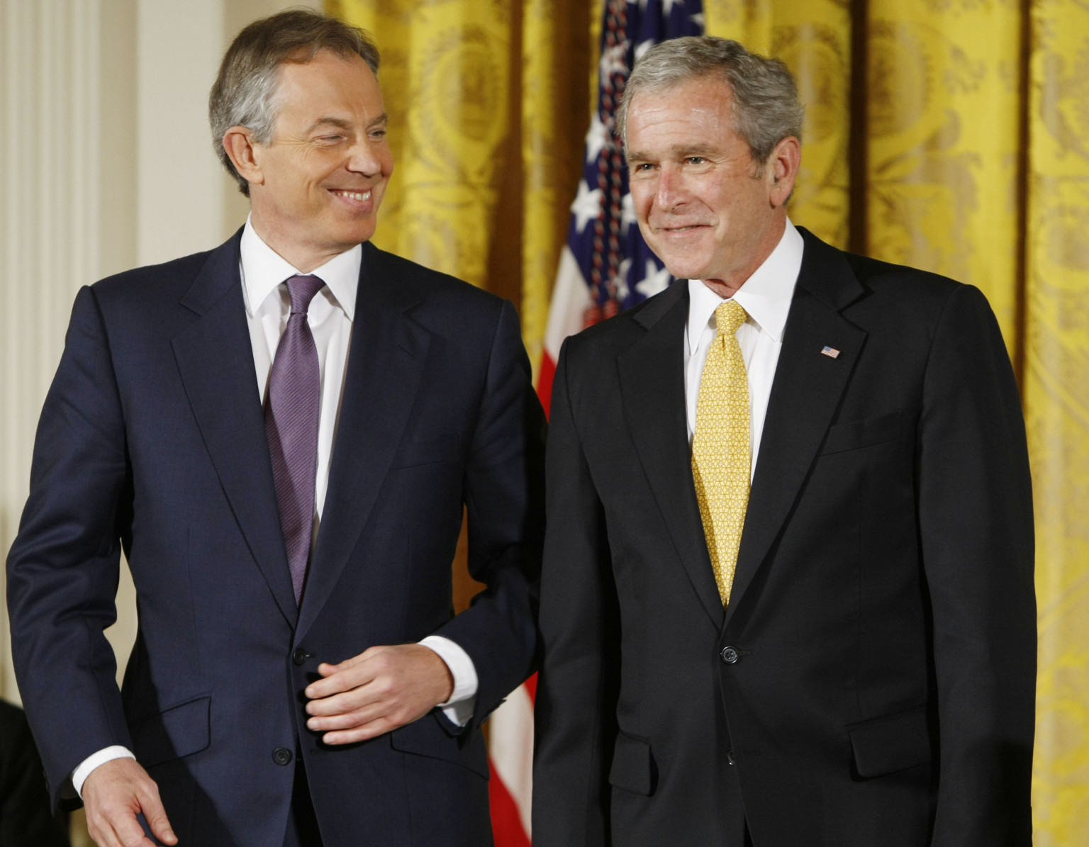 Picture 3 Source: Associated Press/ Gerald Herbert.  Caption: Amused by the absence of accountability: Ex-President George W. Bush and former British Prime Minister Tony Blair in the White House, Tuesday, Jan. 13, 2009.
